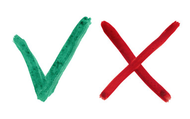 green check mark and red cross on white background