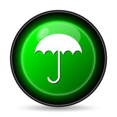 Umbrella icon. Internet button on white background..