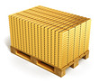 Stacks of gold ingots on shipping pallet