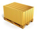 Stacks of gold ingots on shipping pallet