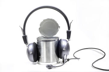 Tin can with headphones