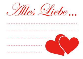 Alles Liebe, Grußkarte, Grüße, Herz, Herzchen, Liebe, Karte, 2D