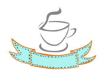 hand draw sketch, A Cup Of Hot Drink with Ribbon