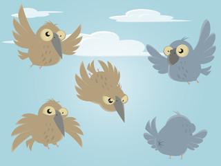vogel vektor cartoon comic set