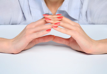 Woman hands protect something