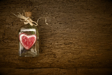 Valentines day card, rustic background