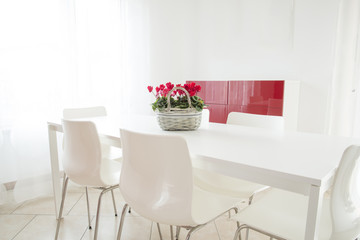 soggiorno bianco e rosso