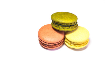 Colorful Macarons on the white background