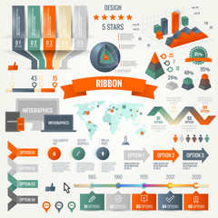 Infographics set with options. Business icons, web design.