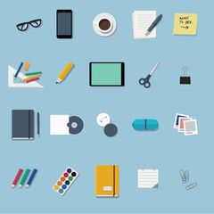 office supplies and stationery flat design icons set