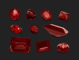 Ruby gemstones collection