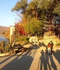 Shadow of tourist wait for boat on Nami island, south korea.