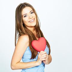 teenager girl hold heart