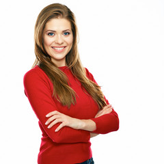 smiling woman in red posing against white background.