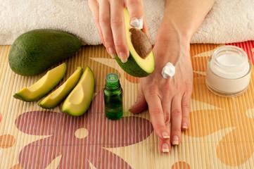 Avocado and hands