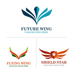 wing abstract logos