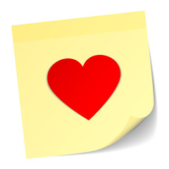 Yellow Stick Note Red Heart