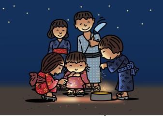 家族と花火