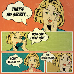 Illustrations for comic books with retro woman in pop art style