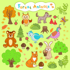 children's drawings forest animals
