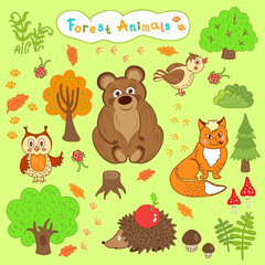 children's drawings of cute forest animals