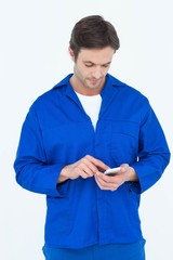 Mechanic text messaging on mobile phone