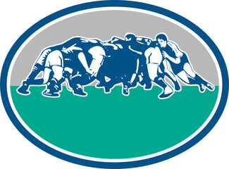 Rugby Union Scrum Oval Retro