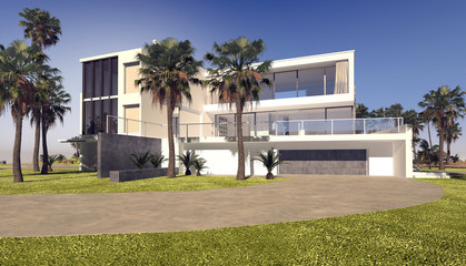 Modern blocky whitewashed luxury tropical villa