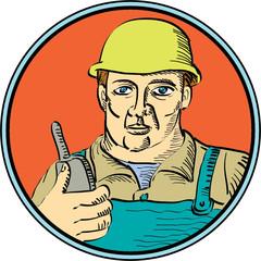 Builder Carpenter Holding Radio Phone Circle Retro