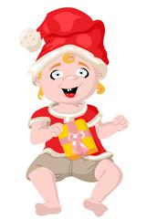 boy dressed as Santa