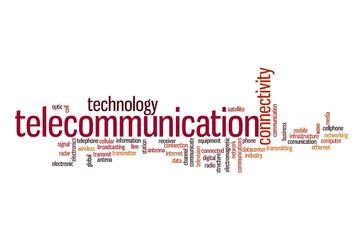 Telecommunication word cloud concept
