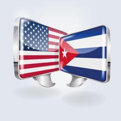 Sprechblasen in kubanisch und amerikanisch