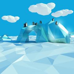 Eisberg im Nordmeer mit Pinguinen