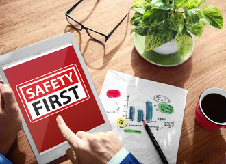 Safety First Warning Digital Device Browsing Concept