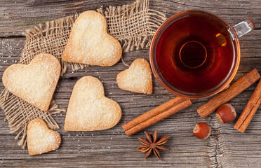 Homemade heart shaped cookies gift with tea for valentines day h