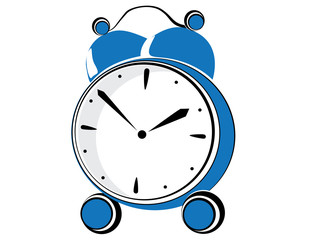 Blue retro alarm clock. Vector illustration