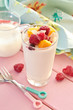 canvas print picture - Frischer Joghurt mit Fruechten