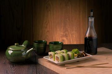 Japanese seafood vegetarian sushi set on white plate
