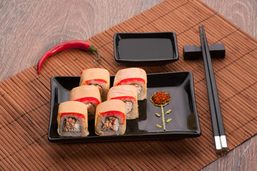 Japanese seafood sushi set on a table