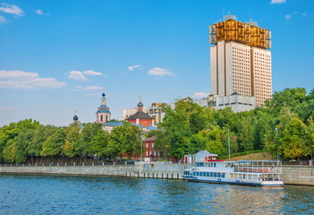 View of  embankment of the Moskva River and  monastery