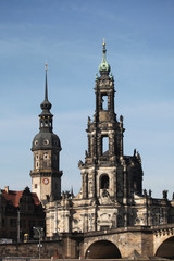 Hofkirche Cathedral and the Dresden Castle in Dresden, Saxony, G