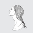 Portrait of pretty young woman in profile view. Vector illustrat
