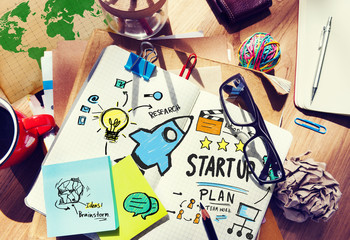 Start Up Business Launch Success Office Desk Concept