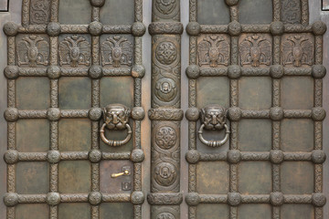 Bronze gate of the Russian Memorial Church in Leipzig, Saxony, G