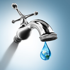 Planet in water drop - water conservation concept - Usa