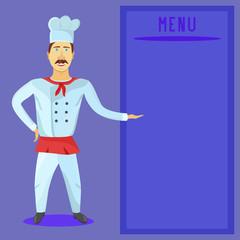 Restaurant chef showing menu