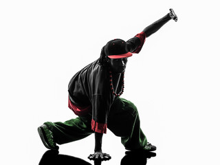 hip hop acrobatic break dancer breakdancing young man silhouette