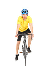 Male biker posing on his bicycle