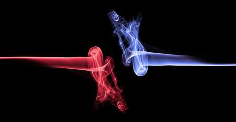 Blue smoke vs red smoke abstract (Ice vs fire)