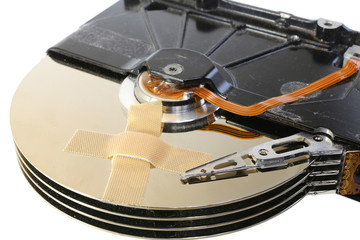 broken hard drive with a band-aid
